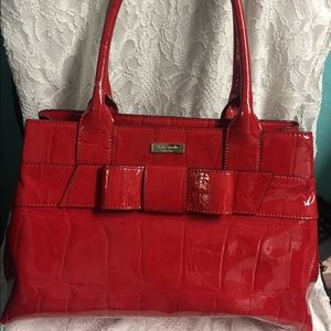 Kate spade glossy red bow purse Elena leather